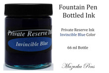 Private Reserve Fountain Pen Liquid Bottled Ink - Invincible Blue color, Dries FAST