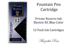 Electric DC Blue 12 Pack of Fountain Pen Ink Cartridges
