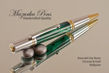 Handmade Ballpoint Pen, Emerald City Resin Pen, Chrome and Gold Finish - Looking from top of Ballpoint Pen