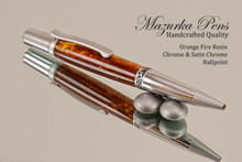 Handmade pen made from Orange Fire Resin with Satin Chrome / Chrome finish.  Handcrafted pen.  Side view of pen