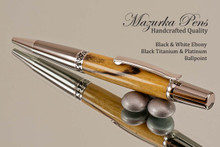 Handcrafted pen made from Black & White Ebony with Black Titanium / Platinum finish.  Side view of pen cap.