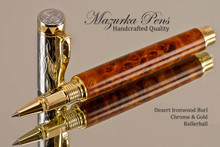 Handmade Rollerball Pen made from Desert Ironwood Burl with Gold colored finish with Chrome Accents.  Main view of pen.