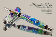 Handmade acrylic pen made from Alien Moon poly resin.  Handcrafted Rollerball Pen - made in our shop, no two alike.  Main view of pen body