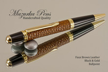 Handmade pen made from Brown Faux Leather with Black / Gold finish.  Handcrafted pen.  Side view of pen