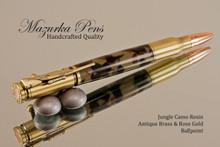 Handcrafted Bolt Action Ballpoint Pen, .30 Caliber Bolt Action Bullet Pen, Jungle Woodland Camo / Antique Brass Finish