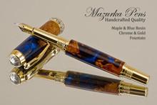 Handmade Blue Resin / Big Leaf Maple Burl Fountain Pen with Black Titanium / Gold trim.  Main view of pen.