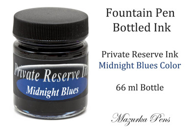 Fountain Pen Ink 66 ml Bottle - Private Reserve Ink,  Midnight Blues Ink Color