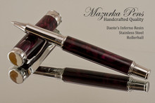 Handmade Writing Instrument Rollerball Pen Dante's Inferno Poly Resin, Stainless Steel Finish - Main View