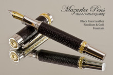 Handmade Fountain pen made from Black Faux Leather with Rhodium / Gold finish.   Main view of pen