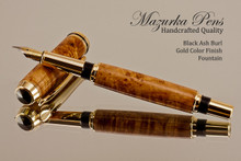 Handmade Fountain pen made from Black Ash Burl with Gold / Black finish.   Cap view of pen