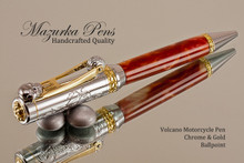 Handmade Motorcycle Ballpoint Pen, Volcanot Resin with Chrome and Gold Finish - Main view of Ballpoint Pen