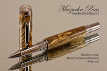 Handmade Rollerball Pen handcrafted from Spalted Hackberry wood Black Titanium and Rhodium finish.  Main view of pen.