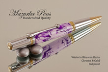 Handmade Ballpoint Pen, Wisteria Blossom Acrylic Resin Pen, Chrome & Gold color Finish - Looking from tip of Ballpoint Pen