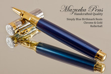 Handmade Rollerball Pen made from Simply Blue Birthmark Resin with Chrome finish / gold colored accents.