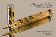 Handmade Rollerball Pen Handcrafted from Dyed Green Boxelder Burl with Chrome & Gold finish.