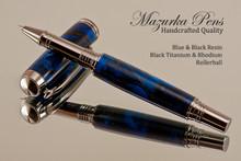 Handmade Rollerball Pen from Blue/Black Swirl Resin Black Titanium/Rhodium finish.