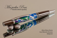 Handmade Ballpoint Pen, Alien Moon Acrylic Resin Pen, Gun metal & Chrome color Finish