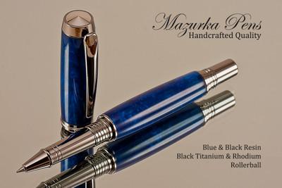 Handmade Rollerball Pen from Blue/Black Resin Black Titanium/Rhodium finish.