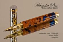 Blue Resin/Big Leaf Maple Burl Rollerball Pen Chrome/Gold