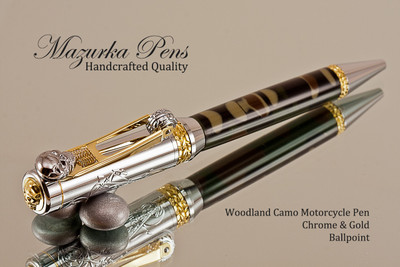 Handmade Motorcycle Ballpoint Pen, Woodland Camo Resin with Chrome and Gold Finish