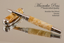 Hand Made Rollerball Pen made from Boxelder with Rhodium finish.