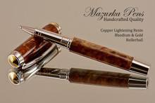 Handmade rollerball pen made from Copper Lightening Resin with Rhodium / Gold.  Handcrafted pen by our artist.