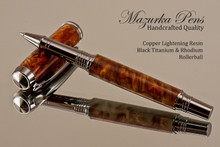 Handmade rollerball pen made from Copper Lightening Resin with Black Titanium / Platinum.  Handcrafted pen by our artist.