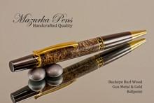 Handmade Ballpoint Pen, Buckeye Burl with Gun Metal and Gold Color Finish