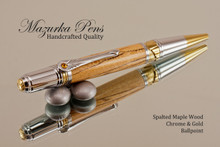 Handcrafted pen made from Spalted Maple with Chrome / Gold finish.