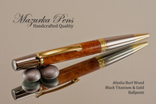 Handmade Ballpoint Pen, Afzelia Burl with Black Titanium and Gold Finish