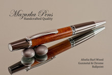 Handmade Ballpoint Pen, Afzelia Burl with Gun Metal and Chrome Finish