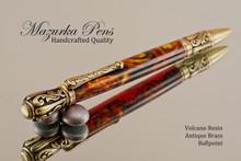 Handmade Ballpoint Pen, Volcano Resin Tudor Pen, Antique Brass