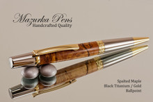 Handcrafted pen made from Spalted Maple with Black Titanium / Gold finish.