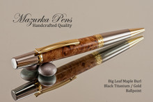 Handmade Ballpoint Pen handcrafted from Big Leaf Maple with Black Titanium and Gold color finish.