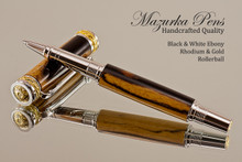 Handmade Rollerball Pen made from Black & White Ebony with Rhodium/Gold color trim.  Handcrafted pen by our artist.