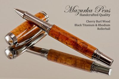 Handcrafted Rollerball Pen made from Black Cherry Burl with Black Titanium and Rhodium finish.