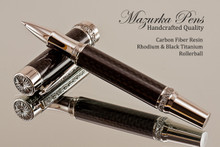 Handmade Rollerball pen made from Carbon Fiber / Resin with Rhodium / Black Titanium finish.   Stock Picture