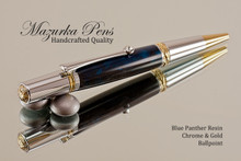 Handmade Ballpoint Pen, Blue Panther Resin Pen, Chrome and Gold Finish