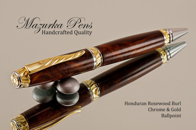 Handmade pen made from Honduran Rosewood Burl with Chrome and Gold color finish.  Handcrafted pen.