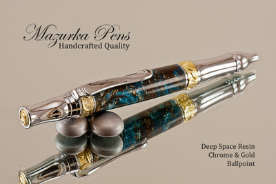 Handmade Ballpoint Pen, Deep Space Resin Pen, Chrome and Gold Finish