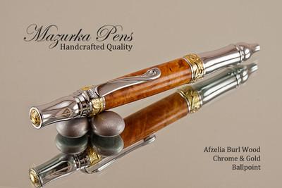 Handmade Ballpoint Pen, Afzelia Burl Ballpoint Pen, Gold and Chrome Finish