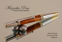 Handmade Ballpoint Pen, Blonde Walnut Chrome and Gold Finish