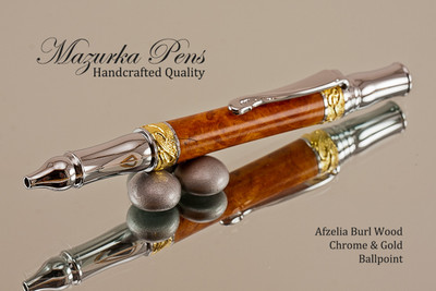 Handmade Ballpoint Pen, Afzelia Burl Ballpoint Pen, Gold and Chrome Finish