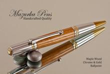 Handmade Ballpoint Pen, Dark Maple with Chrome and Gold Finish