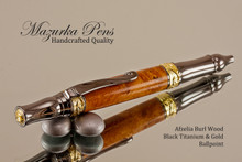 Handmade Ballpoint Pen, Afzelia Burl Ballpoint Pen, Gold and Black Titanium Finish