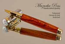 Handmade Rollerball Pen Handcrafted from Tulipwood with Chrome & Gold finish.