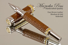 Handmade Rollerball pen made from Brown Faux Leather with Rhodium / Gold finish.   Main view of pen