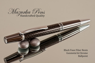 Handmade pen made from Faux Carbon Fiber with Gunmetal / Chrome finish.  Handcrafted pen.