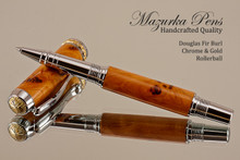 Douglas Fir Burl Rollerball Pen with Chrome / Gold  trim.  Main view of the pen.