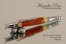 Handmade Ballpoint Pen from Red Dino Bone TruStone, Chrome & Gold Finish